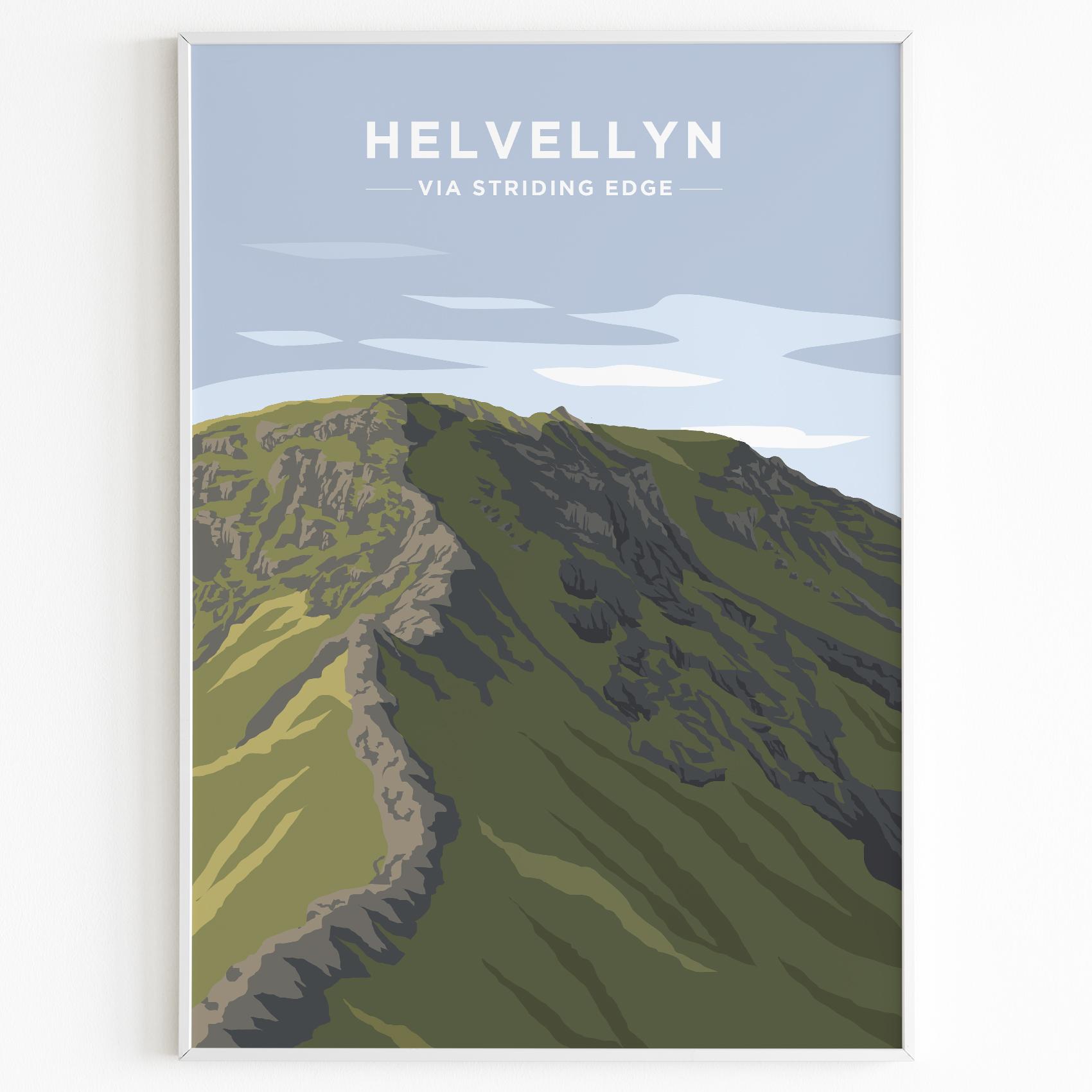 Helvellyn Via Striding Edge Print Poster Lake District Daytime