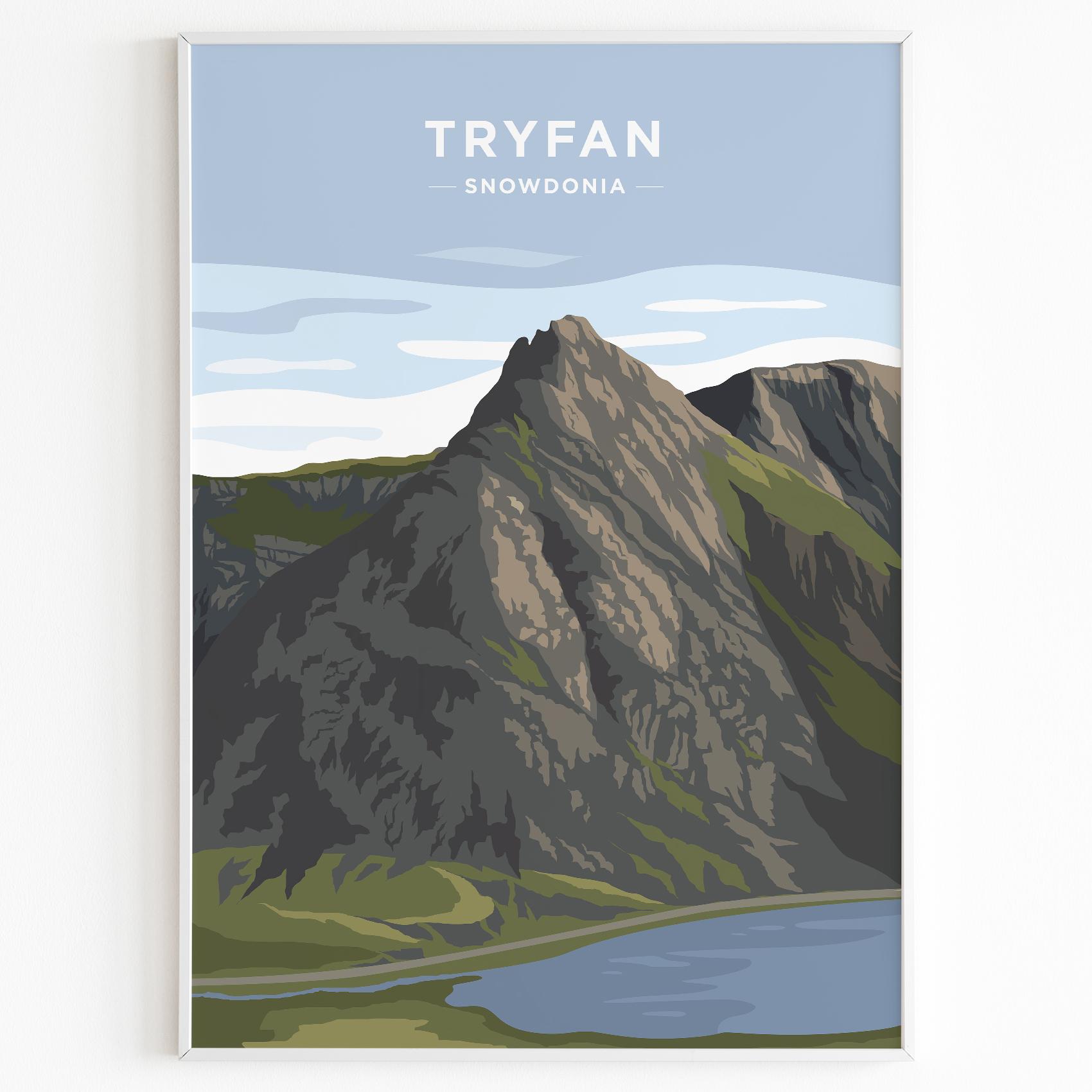 Tryfan Print Poster Snowdonia Daytime