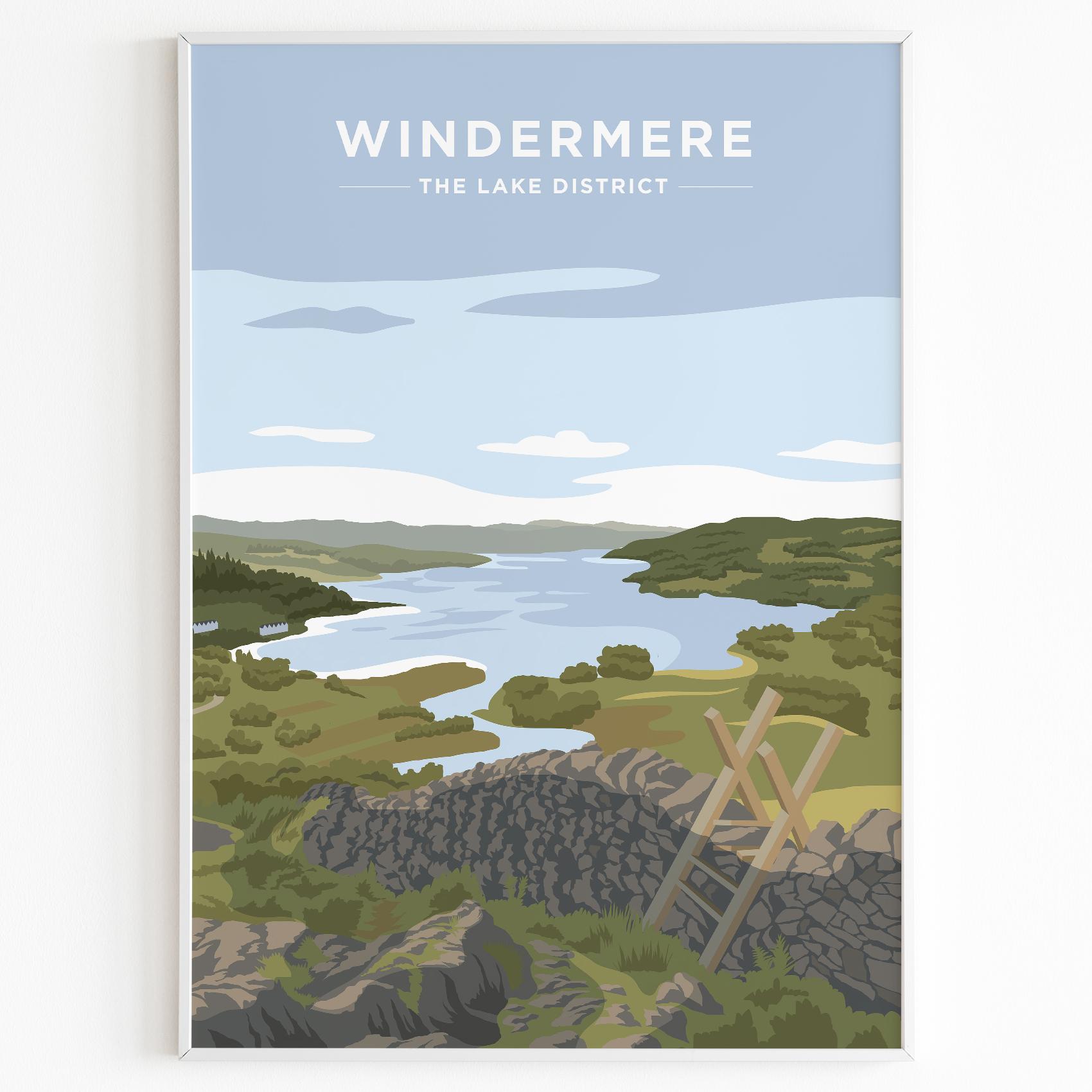 Windermere Print Poster Lake District Daytime