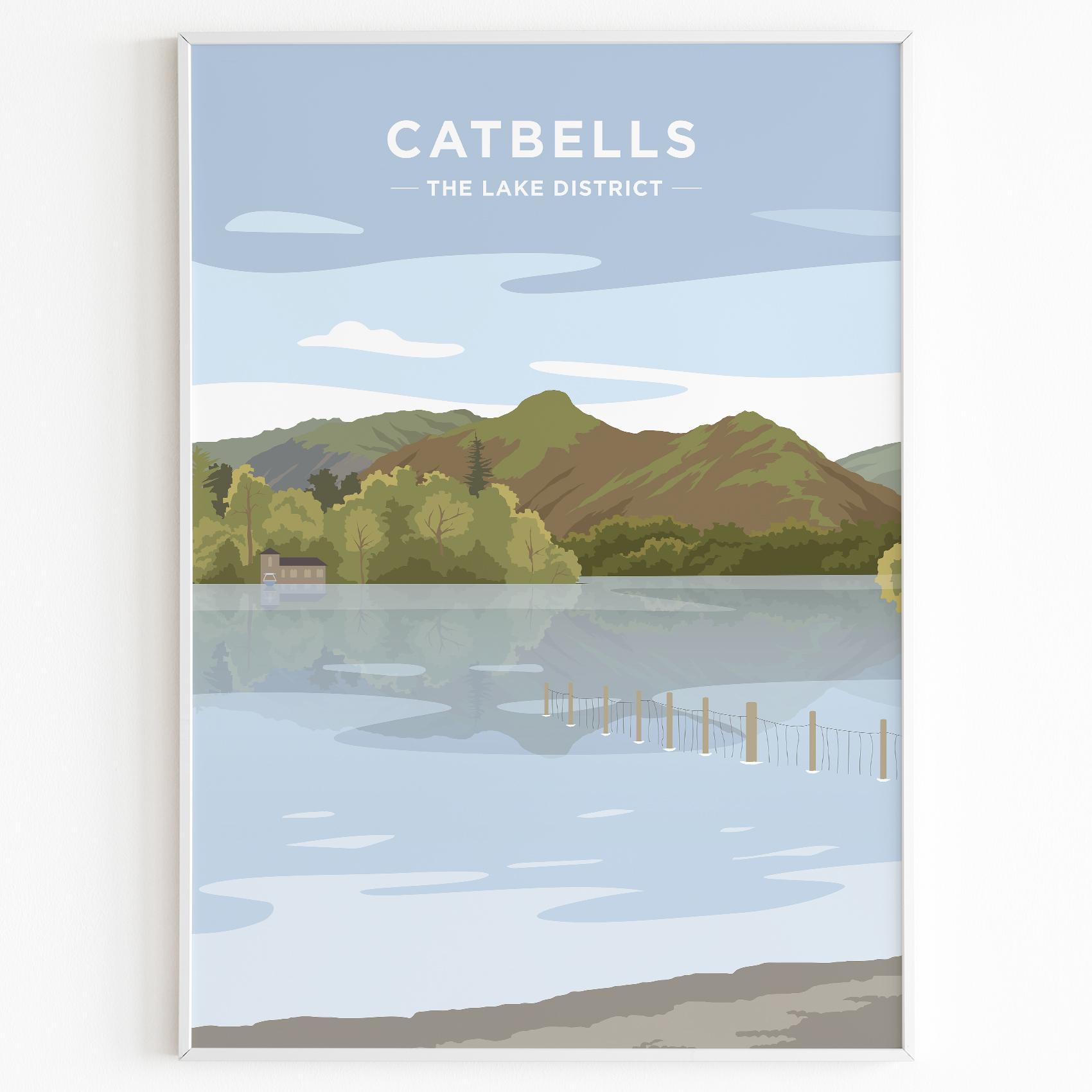 Catbells Print Poster Lake District Daytime
