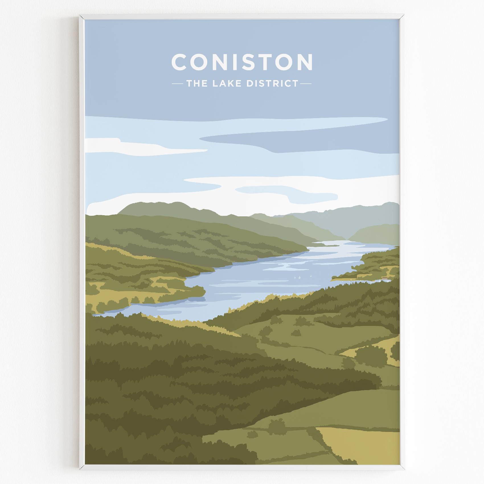 Coniston Water Print Poster Lake District Daytime