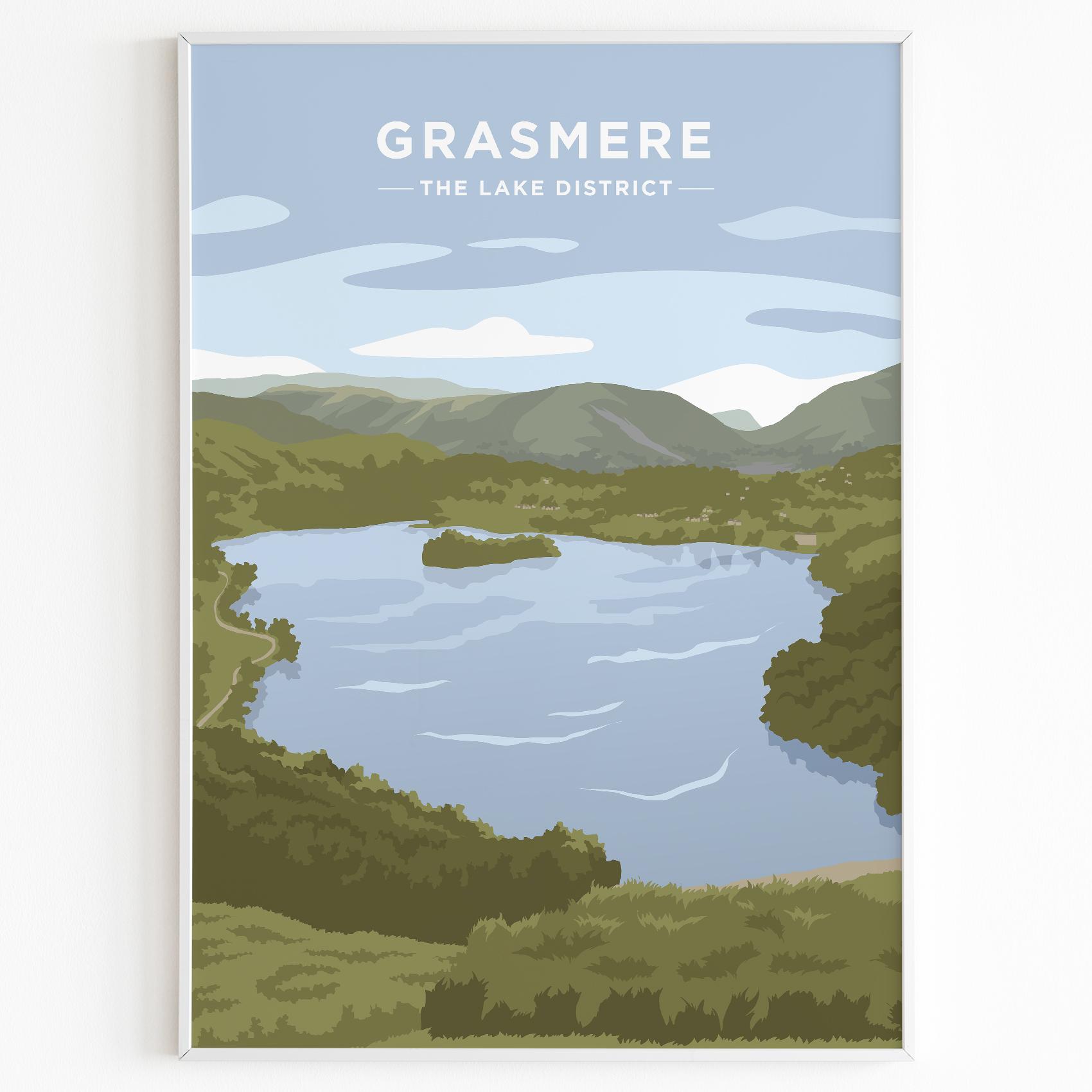 Grasmere Print Poster Lake District Daytime