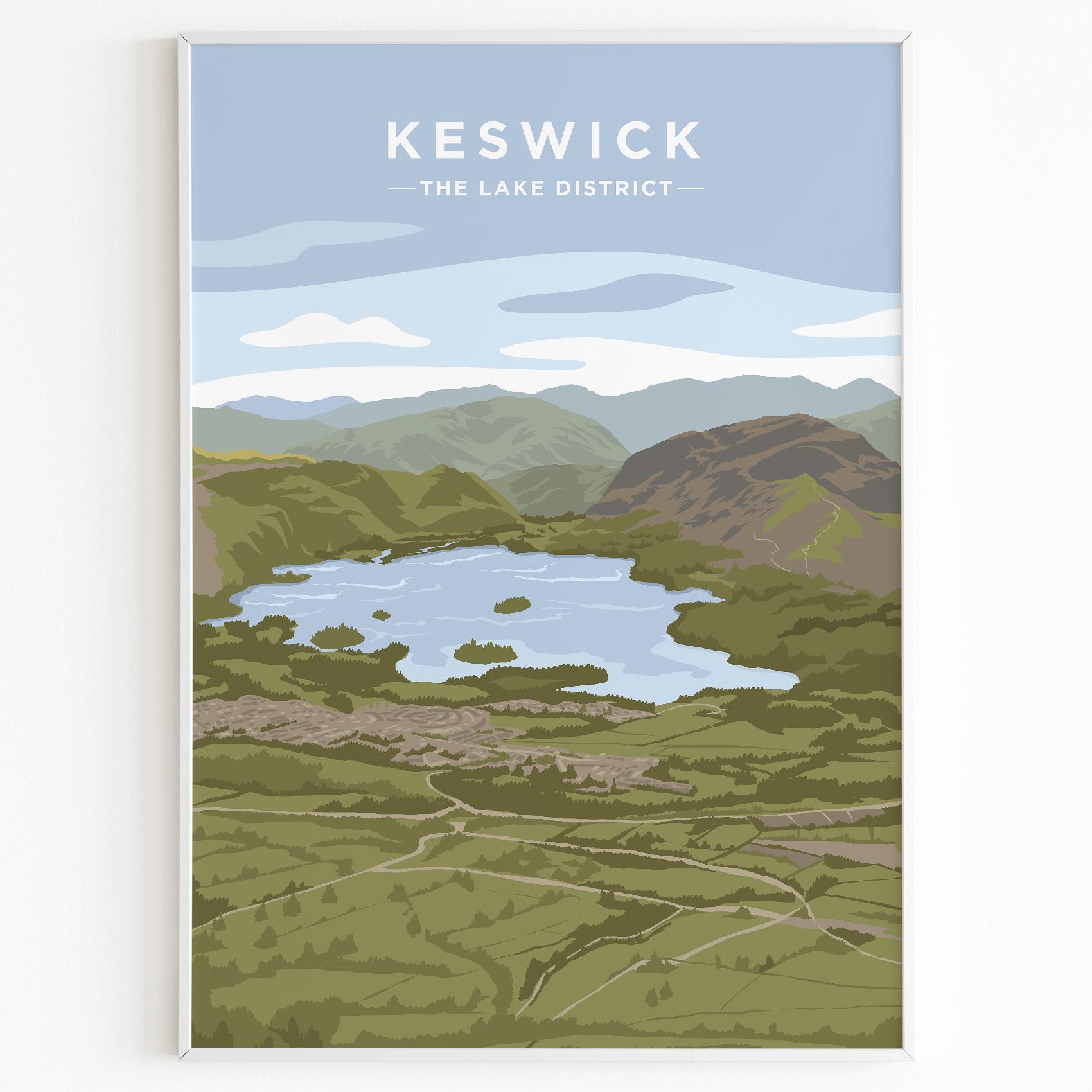 Keswick Derwentwater Print Poster Lake District Daytime