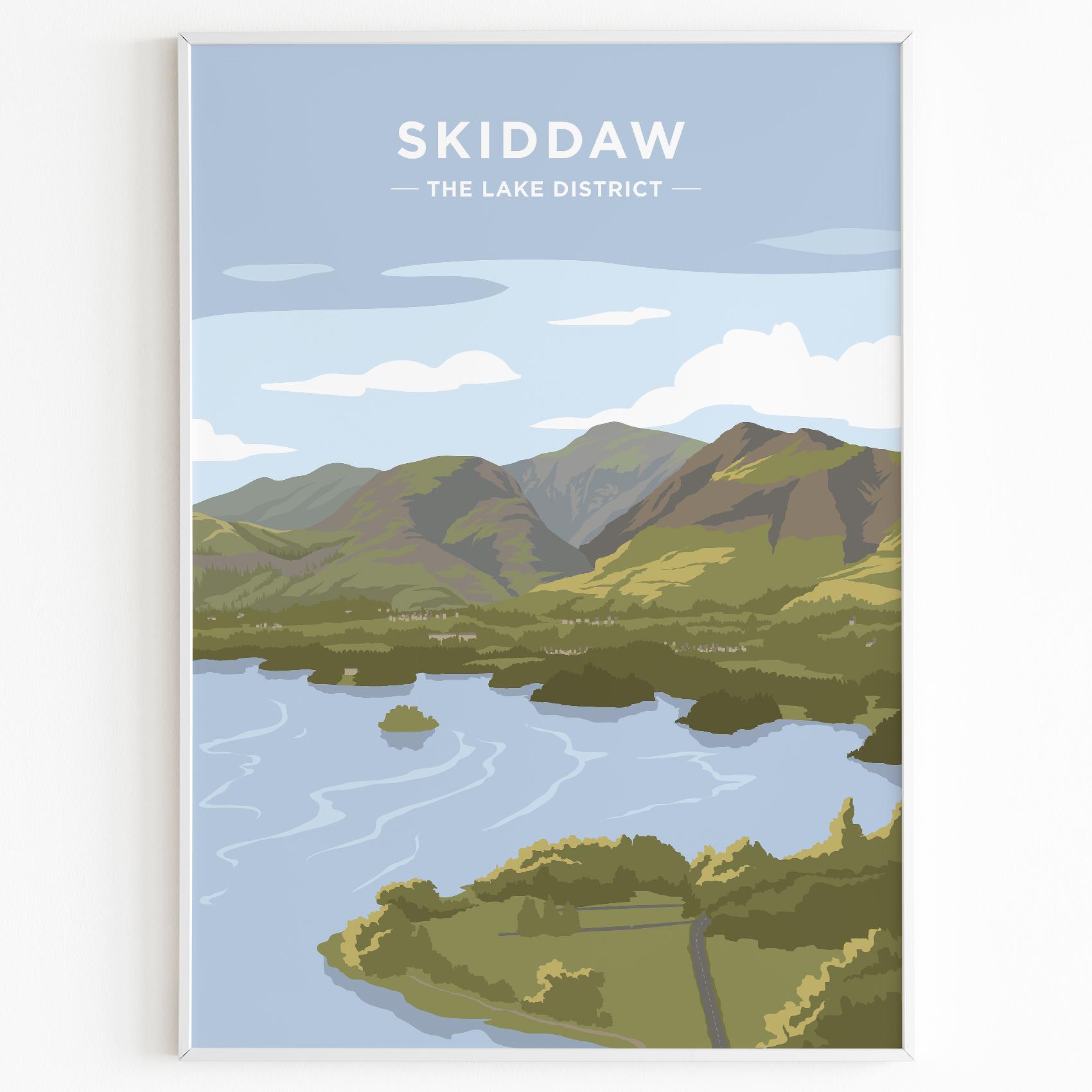 Skiddaw Print Poster Lake District Daytime