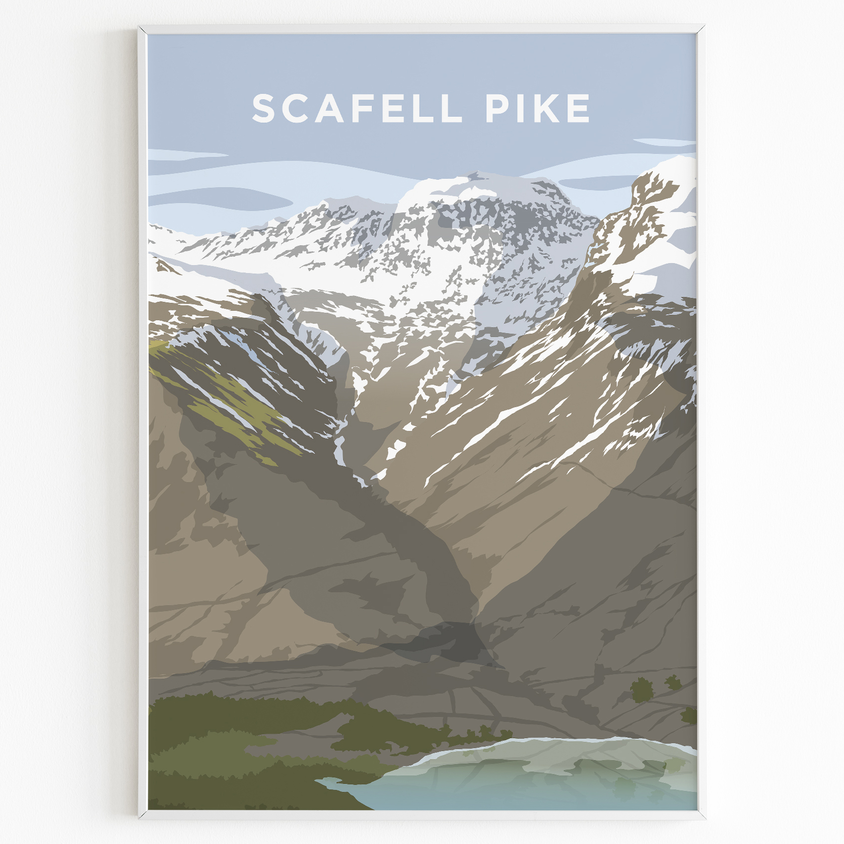 Scafell Pike Print Poster Lake District Daytime