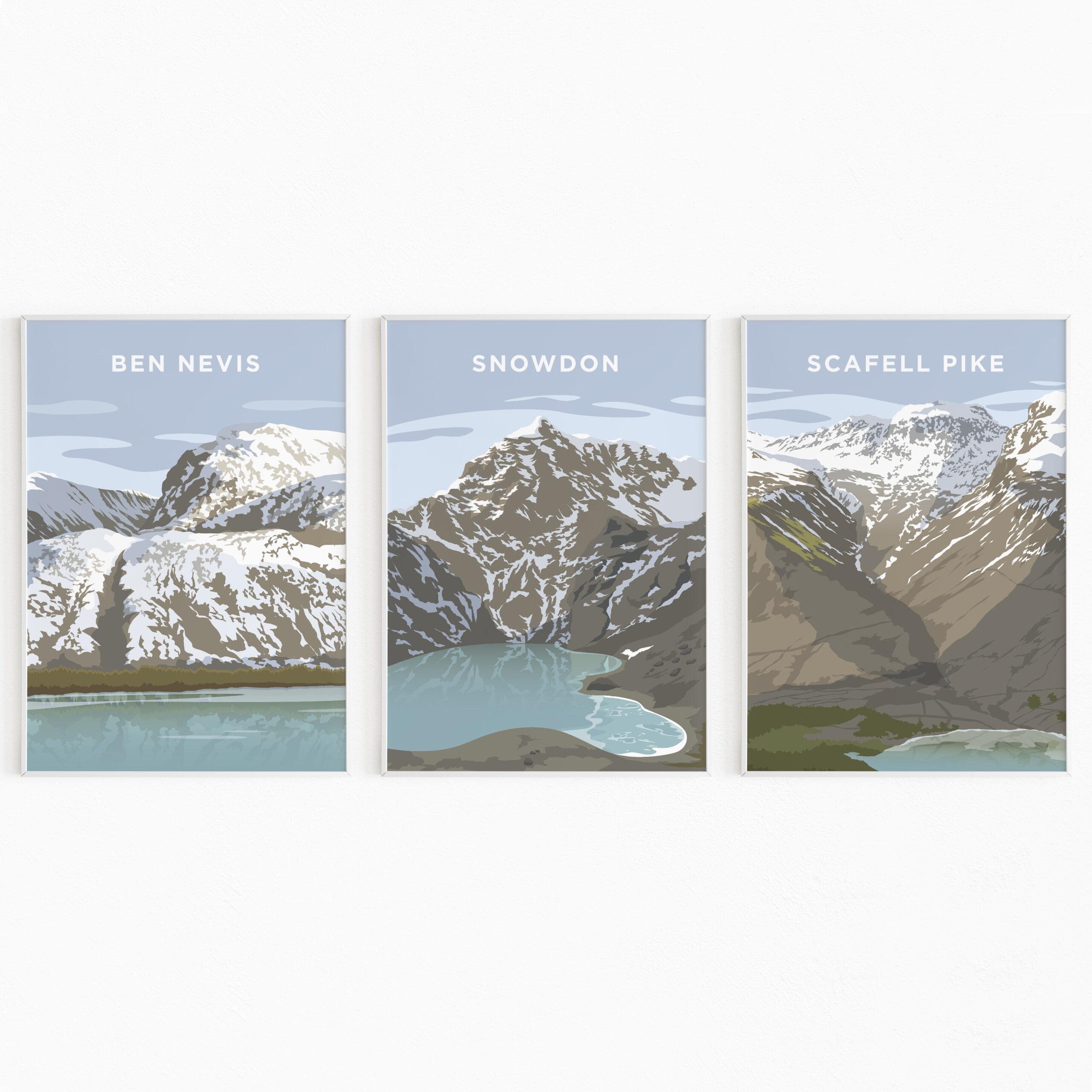 Three Peaks Challenge Print Poster Daytime