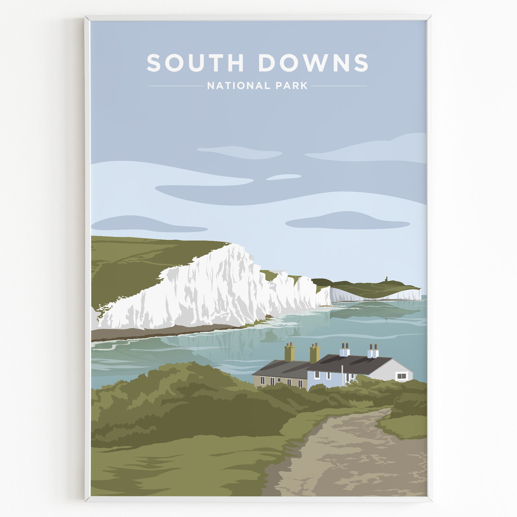 south downs print sunset