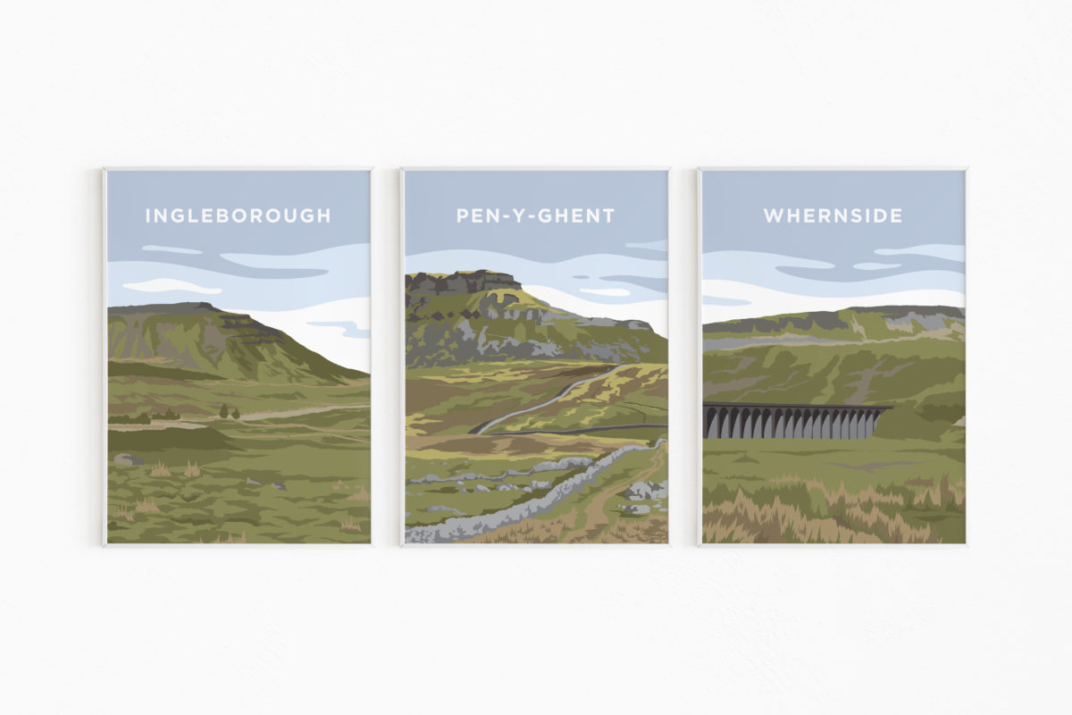 yorkshire three peaks print yorkshire dales poster scaled