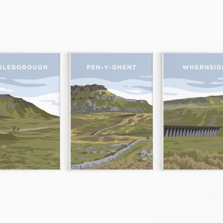 yorkshire three peaks print yorkshire dales poster
