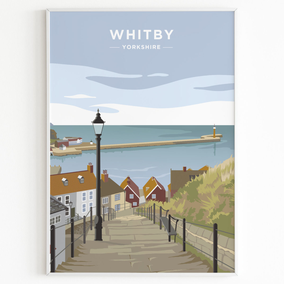 whitby print yorkshire sunset
